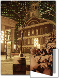 Faneuil Hall at Christmas with Snow  Boston  MA