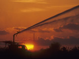 Irrigation from a Truck at Twilight  Florida  USA