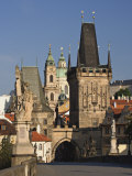 Charles Bridge  Little Quarter Bridge Tower and Church of St Nicholas  Prague  Czech Republic