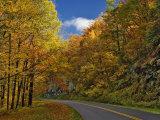 Blue Ridge Parkway Curving Through Autumn Colors Near Grandfather Mountain  North Carolina  USA