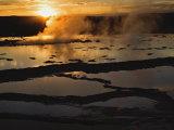 Great Fountain Geyser at Sunset  Firehole Lake Drive  Lower Geyser Basin  Yellowstone NP Wy