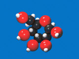 Molecular Model of Glucose (C6H12O6)  with Black for Carbon  White for Hydrogen  and Red for Oxygen