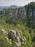 Landscape Bastei  Elbe Sandstone  National Park Saxonia Switzerland  Germany