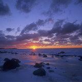 Winter Sunset over Lake Michigan  Cat Head Point  Leelanau State Park  Michigan  USA