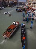 Gondola and Boat Traffic on Grand Canal  from Rialto Bridge  Venice  Italy
