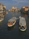 Water Taxis on Grand Canal with Santa Maria Della Salute in the Distance  Venice  Italy