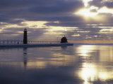 Grand Haven Lighthouse on Lake Michigan at Sunset  Grand Haven  Michigan  USA