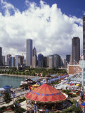 Chicago Skyline from Above Navy Pier  Chicago  Illinois