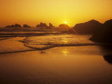Sunset Behind Sea Stacks Off Bandon Beach  Oregon  USA