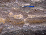 Conjugate Normal Faults in Brecciated Rock