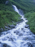 Seasonal Waterfall in Chugach Mountains  Near Valdez  Alaska  USA