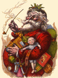 Santa Holds Armful of Toys  1880