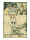 Two Girls Sitting on Garden Wall