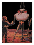 Sci Fi - Alien and Astronaut 1939 art print by Frank R. Paul