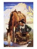 Cowboy Watering His Horse  1937