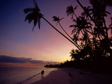 Couple and Palm Trees on Alona Beach Silhouetted at Sunset on the Island of Panglao  Philippines