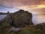Dunscaith Castle Ruins at Sunset  West Coast of Sleat Peninsula  Isle of Skye  Scotland