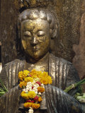Statue with Offering of Marigold Flowers  Emerald Buddha Temple  Bangkok  Thailand  Southeast Asia