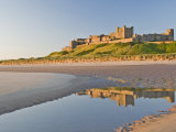 Morning Light on the Beach at Bamburgh Castle  Northumberland  England  United Kingdom  Europe