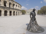 Roman Arena with Bullfighter Statue  Nimes  Languedoc  France  Europe