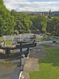 Five Lock Ladder on the Liverpool Leeds Canal  Including a Mill  at Bingley  Yorkshire  England  UK