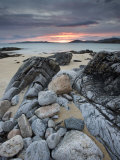 Taransay at Sunset from the Rocky Shore at Scarista  Isle of Harris  Outer Hebrides  Scotland  UK