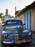 Old American Car Parked on Cobbled Street  Trinidad  Cuba  West Indies  Central America