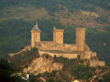 Towers and Fortifications of the Chateau De Foix  in the Midi Pyrenees  France  Europe