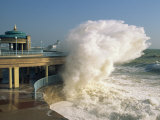 Waves Pounding Bandstand  Storm in Eastbourne  East Sussex  England  United Kingdom  Europe