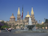 Fountain in Front of the Christian Cathedral in Guadalajara  Jalisco  Mexico  North America