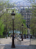 Looking Down the Famous Steps of Montmartre  Paris  France  Europe