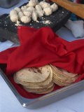 Close-Up of Tortillas in a Tray Covered by a Red Cloth  in Mexico  North America
