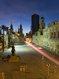 Elevated Dusk View over Plaza De Armas to Santiago Cathedral  Santiago  Chile  South America