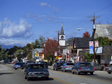 Street Scene with Cars in the Town of North Conway  New Hampshire  New England  USA
