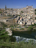 River Below the City of Toledo in Castilla La Mancha  Spain  Europe