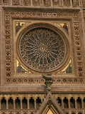 Architectural Detail of the Rose Window in the Cathedral at Orvieto in Umbria  Italy  Europe