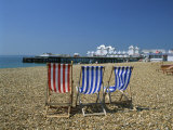 Empty Deck Chairs on the Beach and the Southsea Pier  Southsea  Hampshire  England  United Kingdom