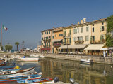 Harbour and Waterfront Cafes  Lazise  Lake Garda  Veneto  Italian Lakes  Italy  Europe