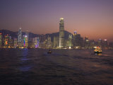 Hong Kong Island Skyline and Victoria Harbour at Dusk  Hong Kong  China