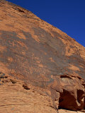 Petroglyphs in Sandstone by Anasazi Indians around 500 AD  Valley of Fire State Park in Nevada  USA