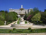 Fountain and Gardens in Front of the Royal Palace  in Madrid  Spain  Europe