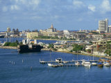 Jetties  Harbour and Skyline of the City of Cartagena in Colombia  South America