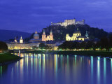 City and Castle at Night from the River  Salzburg  Austria  Europe