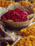 Close-Up of a Basket of Red Flowers  with Yellow Flowers  in the Market  Jaipur  Rajasthan  India