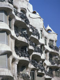 Balconies on the Casa Mila  a Gaudi House  in Barcelona  Cataluna  Spain