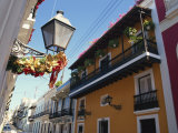 Balconies on Typical Street in the Old Town  San Juan  Puerto Rico  Central America