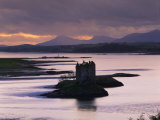 Castle Stalker on Loch Linnhe  Silhouetted at Dusk  Argyll  Scotland  United Kingdom  Europe