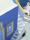 Detail of Brightly Painted House  Oia  Santorini  Cyclades  Greek Islands  Greece  Europe