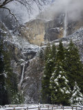 Fresh Snow Fall on Yosemite Falls  Yosemite Valley  Yosemite National Park  California  USA