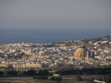 Dome of Mosta in Distance Viewed from Mdina the Fortress City  Malta  Europe
